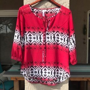 Three Hearts, sheer, red, white & black top size M
